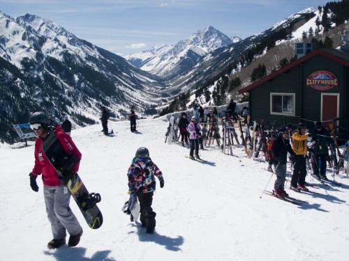 Skiers around the Cliffhouse Restaurant on Buttermilk Mountain in Aspen.