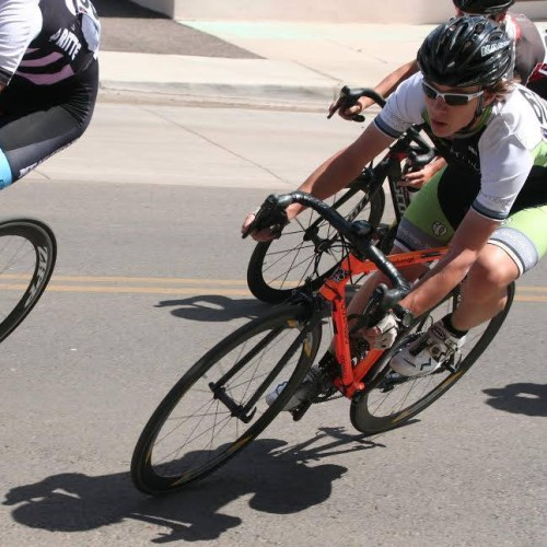 Kevin Callahan, a member of Team Limelight, bike racing at the Tour of the Gila.