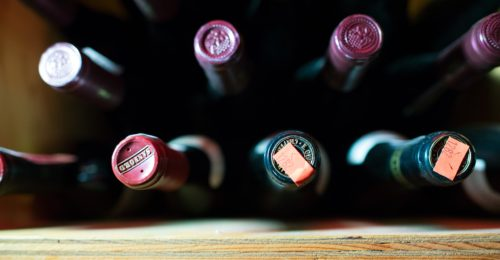 Bottles of wine waiting to be enjoyed in Sun Valley Idaho.