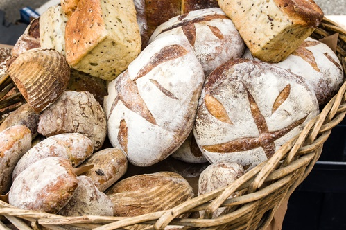 Loaves of fresh bread at the market