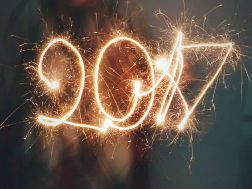"""The numbers """"2017"""" drawn out with a sparkler for a new year's celebration."""