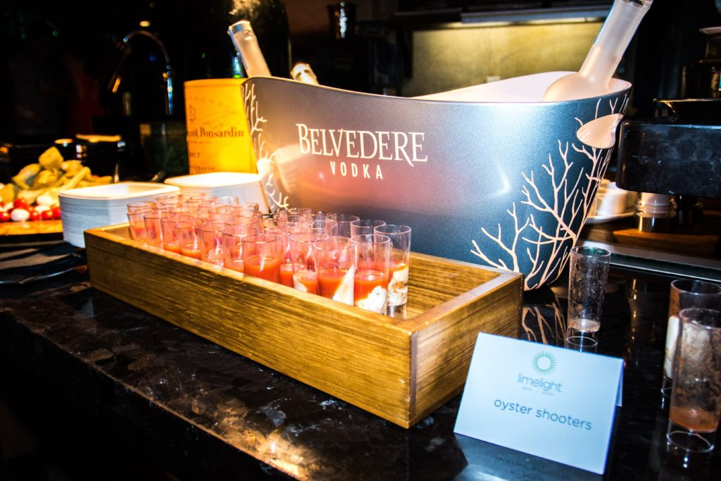 A tray of oyster shooters at a 2016 New Year's Eve party at the Limelight Hotel Aspen.