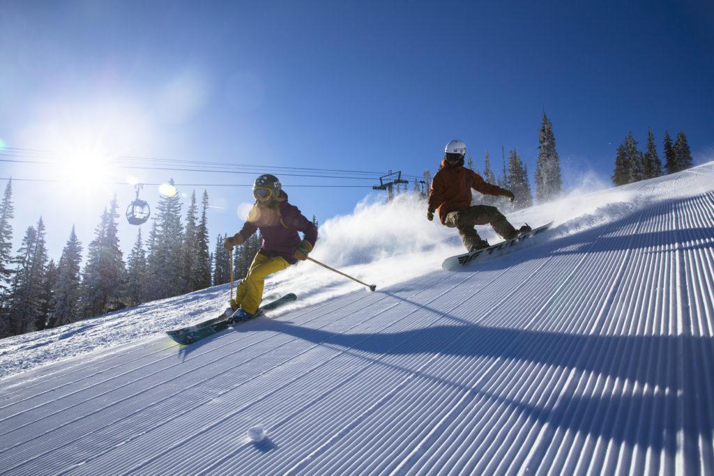 snowboard and ski